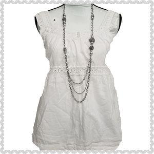3/$25 Elle Boho Crochet Flutter Sleeve White Top S